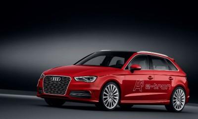 Neuer Audi A3 Sportback Hybrid: von vorne, Frontpartie, Grill, von der Seite, Seitenansicht, in Rot, Felgen