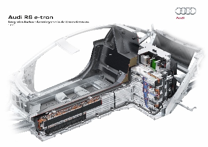 Audi R8 e-tron Test: Motor, engine, Batterie, Akku, Akkustrang, Akkus