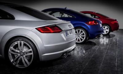 Audi TT, drei Generationen: Heck, Heckansicht, von hinten, Seite, hinten, Felgen, Auspuff, im Vergleich