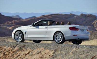 BMW 4er Fahrbericht: Seitenansicht mit offenem Dach