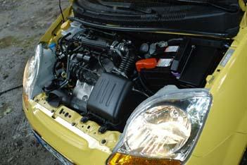 Chevrolet Matiz Test: Motor mit Gas, Gasantrieb, engine