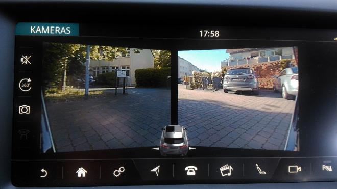 Jaguar E-Pace P200 Kamera vorne und hinten, Split Ansicht