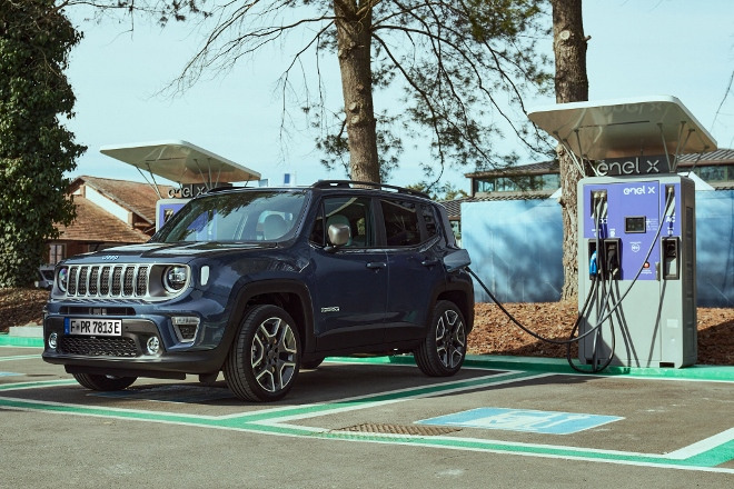 laden an der Ladesäule Jeep Renegade 4xe Plug in Hybrid