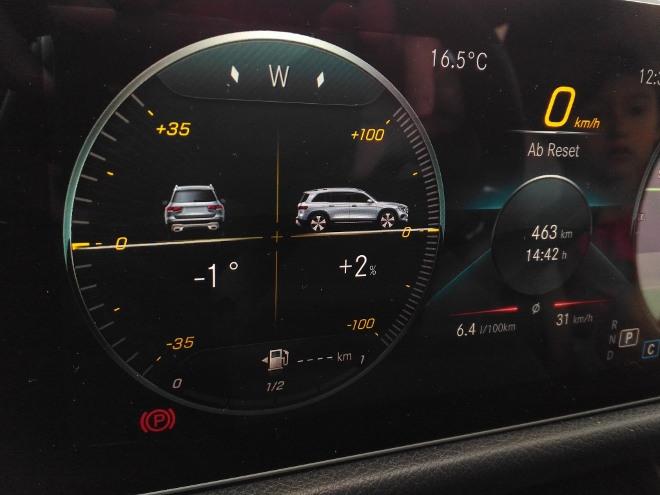 Mercedes GLB 220d Grad Anzeige Tacho