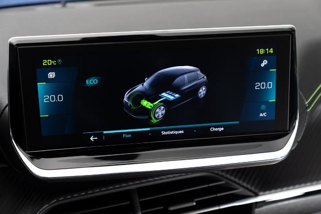 neuer Peugeot 208 Elektro, 208e Energieanzeige