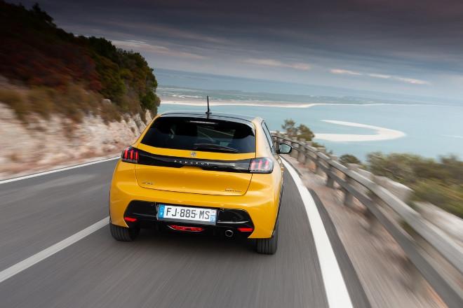 Neuer Peugeot 208 2020, in Gelb, Heck