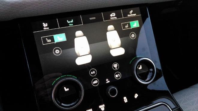 Range Rover Velar Sitzmassage Einstellung auf dem Bildschirm
