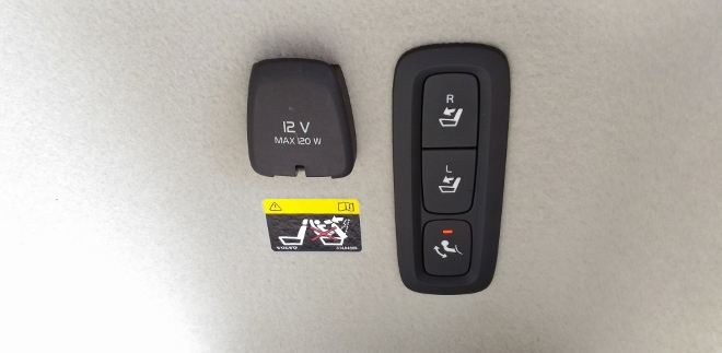 Volvo V60 Steckdosen und Fernentriegelung Sitzbank im Kofferraum